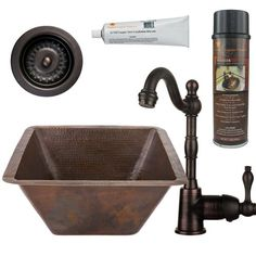 """Premier Copper Products 17"""" x 17""""  Bar Sink with Faucet"""