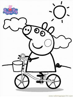 Peppa pig cartoon coloring pages for kids printable free