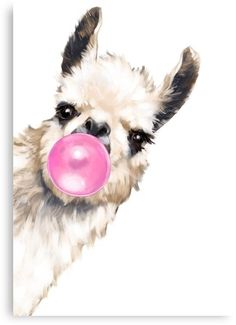 Bubble Gum Sneaky Llama Framed Art Print by Big Nose Work - Conservation Pecan - Images Lama, Llama Drawing, Llama Pictures, Llama Images, Blowing Bubble Gum, Framed Art Prints, Canvas Prints, Canvas Artwork, Llama Arts
