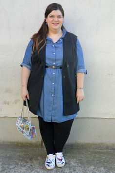 #plussize #outfit black and denim, more on http://www.pluskawaii.com/2015/04/outfit-denim-e-nero.html