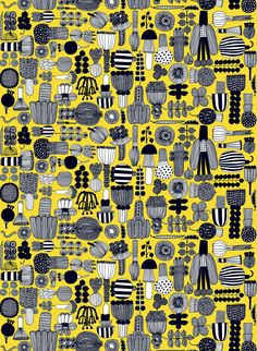 Marimekko Puutarhurin Yellow / Black Cotton Fabric Get your daily serving of veggies from Puutarhurin (Gardener's) fabric. Designed by Maija Louekari, each black and white vegetable has a sketch-like quality and is neatly arranged on a bright yellow ba. Textile Patterns, Print Patterns, Color Patterns, Textiles, Scandinavian Fabric, Marimekko Fabric, Scandinavia Design, Yellow Background, Modern Fabric