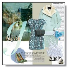 """""""SheIn:  Green Short Sleeve Floral Bow Slim Dress"""" by wreathjar ❤ liked on Polyvore featuring La Femme, Salvatore Ferragamo, Sheinside and shein"""
