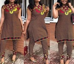 African print top and pants set / African print pencil fit pants / African clothing / Ankara dress / African dress / African dresses African Print Jumpsuit, African Print Dresses, African Print Fashion, African Dress, Ankara Dress, Xhosa Attire, African Attire, African Wear, African Blouses