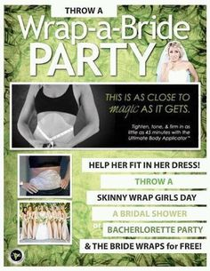 Wrap-A-Bride or Whole Wedding Party!  Need help to tone, tighten and firm to make sure you fit into your dress? Let the wrap from ItWorks! solve all your worries Order yours today at www.kristy-maxwell.com