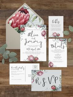 Editable Template Printable Sierra Flat White Flowers Folded White Protea Place Cards
