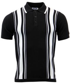 Clothes Aftermath Retro Mod Stripe Panel Knitted Polo (Black) from Madcap England 1960s Fashion Mens, Mens Fashion Blazer, Mod Fashion, Vintage Fashion, Fashion Brand, Best Polo Shirts, Cool Shirts, Casual Shirts, Vintage Outfits
