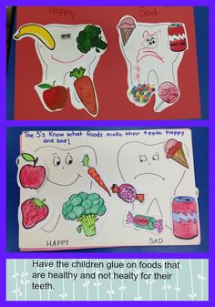 "Teaching children how to take care of their teeth.  They can glue on healthy or non healthy foods to their ""happy"" and ""sad"" teeth.  Explain that they can eat the unhealthy foods, but they need to brush their teeth afterwards."
