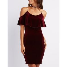 Shimmery velvet adds a luxe touch to your bodycon game, sculpting the perfect cold shoulder dress! Cute Dresses, Casual Dresses, Short Dresses, Party Dresses, Dressy Outfits, Fashion Outfits, Red Ruffle Dress, Dress Red, Casual Cocktail Dress
