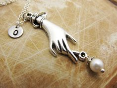 Hand Charm Necklace Personalized Necklace by StampedCharmsJewelry, $16.00