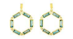 """Amy Glaswand's """"Ceres Block"""" earrings with blue topaz baguettes set in 18-karat gold"""