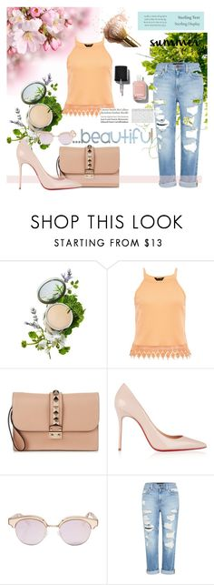 """More about summer"" by caroowcastillo ❤ liked on Polyvore featuring Origins, Valentino, Christian Louboutin, Le Specs, Tiffany & Co., Genetic Denim, Chanel and summerbrights"
