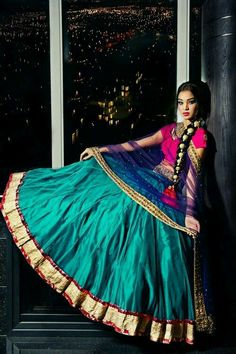 Indian Couture. Love the pink, blue and turquoise. Would wear this lengha. 10/10.