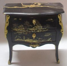 Black Lacquer China Sea Commode by Herbillon - $1,550.00 : Swan House Miniatures, Artisan Miniatures for Dollhouses and Roomboxes