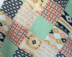 Baby Quilt Boy Moose Bow and Arrow Stag WoodlandBirch by CoolSpool