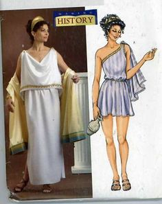 Womens Ancient Greek Costumes Toga With Drape or Draped Gown OOP Butterick Sewing Pattern Size 4 6 8 10 12 14 Bust 29 to 36 Ancient Greek Costumes, Ancient Greek Clothing, Greek Toga, Greek Dress, Toga Dress, Roman Toga, Greek Goddess Costume, Greek Fashion, Costume Patterns