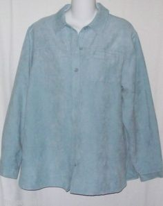 Parisian Blouse Size Medium Ice Blue Velour Long sleeve Button Down Front Top