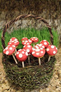 Mushroom cake pops at a Fairy Garden Party #fairygarden #party