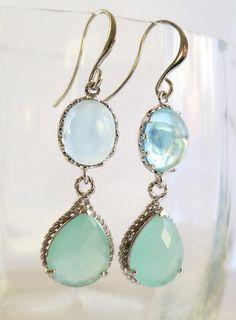 Aqua Crystal & Pale Mint Teardrop and Silver Earrings, Wedding Statement Jewelry, Aquamarine and pastel Mint Opal Earrings. $33.00, via Etsy.