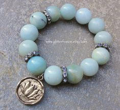 Amazonite Beaded Yoga Stretch Elastic Stacking by GlitterFusion