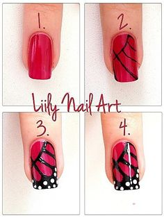 50 Cute & Easy Nail Art Tutorials Just For You You are a fan of nail art and always looking for new ideas manicure? You are at right place! Have beautiful manicured nails is essential for pretty girls who like to take care of it. Cute Simple Nails, Cute Nails, Pretty Nails, Nail Art Diy, Easy Nail Art, Cool Nail Art, Easy Art, Lily Nails, Butterfly Nail Art