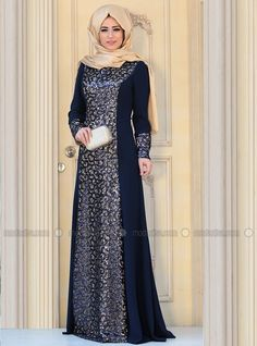 Dress brokat blue Ideas for 2019 Batik Fashion, Abaya Fashion, Fashion Dresses, Maxi Outfits, Islamic Fashion, Muslim Fashion, Abaya Mode, Ny Dress, Hijab Stile