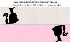 Etiquetas para imprimir gratis de Barbie Silueta, para bolsas de golosinas.