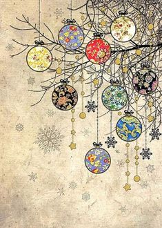 Holiday Fun Bauble Branches - christmas card design by Jane Crowther for Bug Art greeting cards. Noel Christmas, Christmas Paper, Vintage Christmas Cards, Christmas Images, Xmas Cards, Christmas Greetings, Vintage Cards, Christmas Crafts, Christmas Card Designs