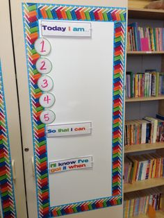 """Learning Targets board for Reading Specialists. Using a dry erase contact paper, I created a """"board"""" on the front of my cabinet. Now I can display all the target statements for all grade level groups in one small area."""