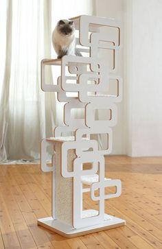 Retro Design scratching post - Design cat furniture - Cat furniture *Coolest cat tree ever* I Love Cats, Crazy Cats, Cool Cats, Cat Towers, Cat Shelves, Pet Furniture, Modern Cat Furniture, Furniture Dolly, Scratching Post
