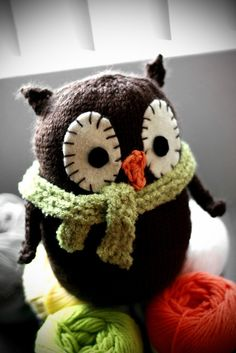 Hand Knitted Owl  Oliver  Custom Made To Order by NotSoSmallThings, $22.00