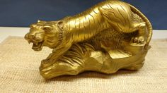 """Tiger with bursting energy.  7.5"""" x 4.75""""  Hand crafted."""