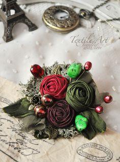 "Купить Брошь ""Burgundy"" - брошь, брошь цветок, роза, брошь роза, кружево, романтика, винтаж"