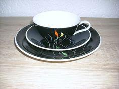 Sammeltasse schwarz Dekor Porzellan 60er J BuB Volkstsdt vintage RAR