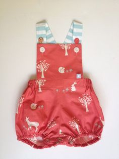 A coral woodland friends vintage sunsuit. Fashion Kids, Little Girl Fashion, My Baby Girl, Baby Love, Kids Mode, Kid Styles, Sewing For Kids, Future Baby, Cute Kids