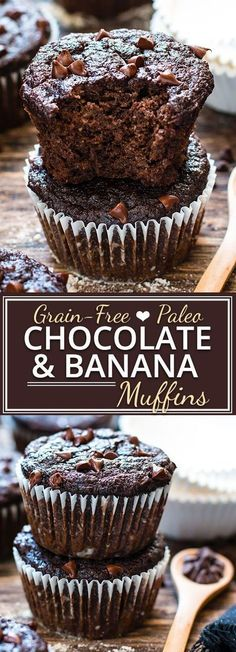 BREAKFAST TREAT - Paleo Chocolate Banana Muffins - healthy enough to eat for breakfast! They're made with coconut flour, almond flour and sweetened with pure maple syrup for a grain-free, gluten-free, dairy-free and refined sugar-free muffin recipe. Patisserie Sans Gluten, Dessert Sans Gluten, Paleo Dessert, Gluten Free Desserts, Dairy Free Recipes, Baking Recipes, Dessert Recipes, Paleo Muffin Recipes, Banana Recipes Paleo