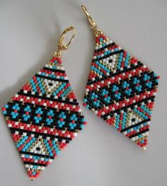 Native American Inspired Earrings -  Copyright 2014 - Patti Ann McAlister- Large Diamond Shape Seed Bead Earrings                                                                                                                                                                                 Más