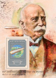 Post stamp Guinea Post stamp Guinea GU 14609 b85th anniversary of the round the world flight by Graf Zeppelin