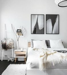 Leaning Wall Ladder in a Scandinavian Bedroom Design by @vaningenvillan Scandinavian Bedroom Decor, Scandinavian Home Interiors, Scandi Bedroom, Scandinavian Style, Ikea White Dresser, Interior Design Photography, Minimalist Room, Cozy House, Bedroom Wall