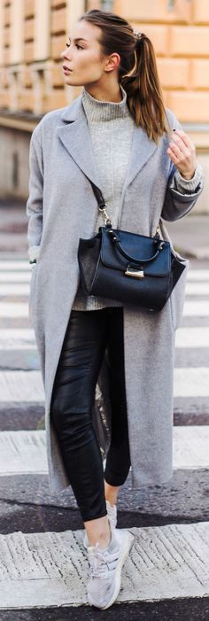 Pale grey items look great matched with black leather leggings as seen here worn by Katarina Lilius. The long coat trend is also huge this season; try getting a similar one to this from Topshop. Via Just the design.   Coat/Top: Topshop x Nelly*, Trousers: H&M, Sneakers: Adidas, Bag: Mango.