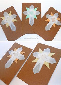 origami - estampas de Comunión con detalle de cruz y mandala plegado en papel