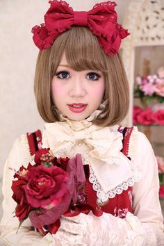 •○~ Classic lolita, ロリータ♥  makeup - short hair - flowers - roses - blouse - jumperskirt - gloves - lace - head bow - ribbon - cute - kawaii  - Japanese street fashion✮ ~•○