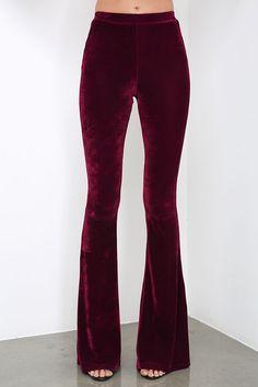 Shagadelic Burgundy Velvet Flare Pants