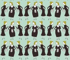 gossiping ladies fabric by mummysam on Spoonflower - custom fabric
