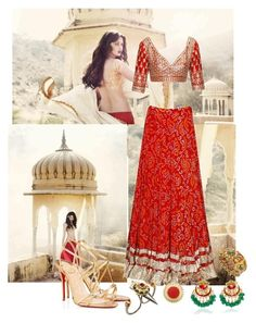 """Dazzling in an Anita Dongre Lehenga"" by anujabalaji ❤ liked on Polyvore featuring Anita Dongre and Amrapali"