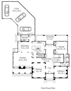 First Floor Plan of Colonial   Greek Revival   House Plan 72141