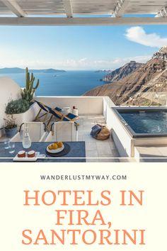 9 Beautiful Hotels in Fira, Santorini - Wanderlust, My Way Fira Santorini, Mykonos Greece, Crete Greece, Athens Greece, Beautiful Pools, Beautiful Islands, European Destination, European Travel, Honeymoon Destinations