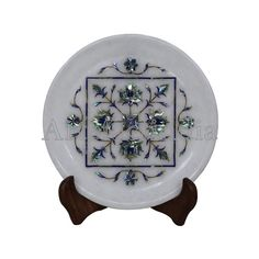 Mosaic White Marble Wall Plate Display Wall Plate White Marble Inlaid With Semi Precious Gemstones Handmade Piece Serving Plate Guest Display Wall, Plate Display, Green Marble, White Marble, Marble Wall, Pen Holders, Wall Plaques, Semi Precious Gemstones, Plates On Wall
