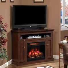 ClassicFlame Windsor Wall Or Corner Electric Fireplace Media Console - Antique Cherry - Log Burner Fireplace, Tv Over Fireplace, Fireplace Built Ins, Shiplap Fireplace, Fireplace Tv Stand, Concrete Fireplace, Fireplace Hearth, Fireplace Remodel, Country Fireplace