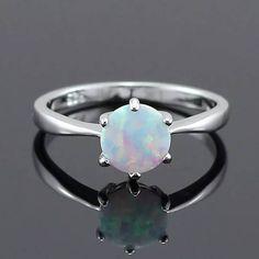 9d94b61853 White Fire Opal CZ Women Claw Inay Fashion Jewelry Opal Ring