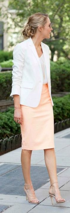 white blazer, silk spaghetti strap camisole, pastel orange coral pencil skirt, nude ankle strap heeled sandals
